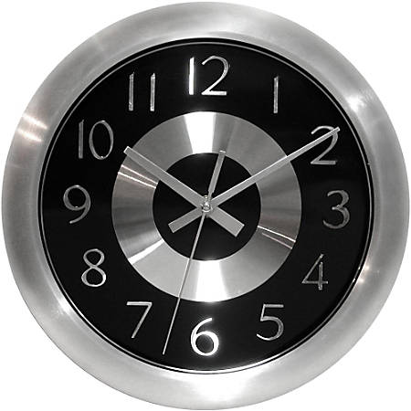 """Infinity Instruments Round Wall Clock, 10"""", Black/Silver"""