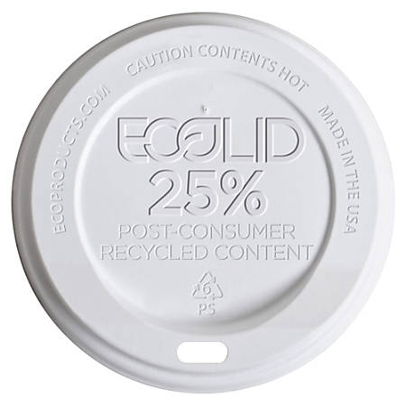 Eco-Products Recycled Hot Cup Lids, 10-20 Oz, White, Pack Of 1,000