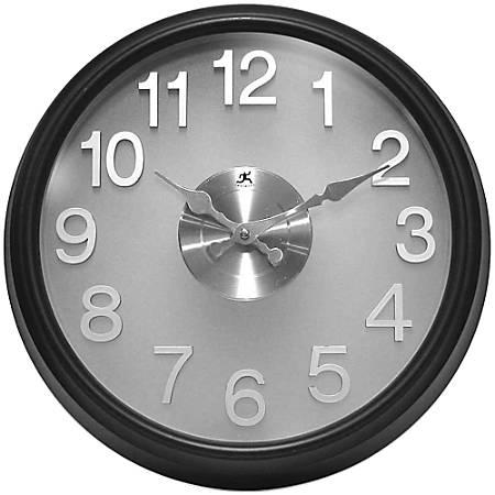 "Infinity Instruments Round Wall Clock, 15"", Black/Gray"