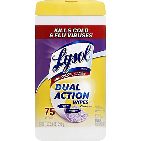 "Lysol Dual Action Wipes - Wipe - Citrus Scent - 7"" Width x 8"" Length - 6 / Carton"