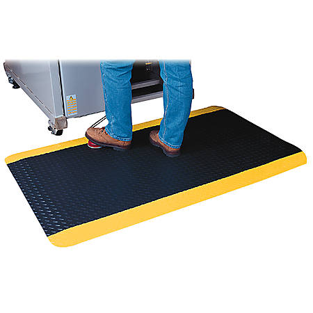 Genuine Joe Safe Step Anti-Fatigue Mat, 3' x 5', Black/Yellow