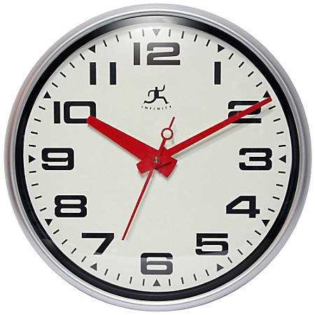 """Infinity Instruments Round Wall Clock, 15"""", Silver/White"""
