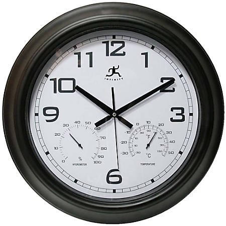 """Infinity Instruments Round Wall Clock With Hygrometer/Thermometer, 18"""", Black/White"""