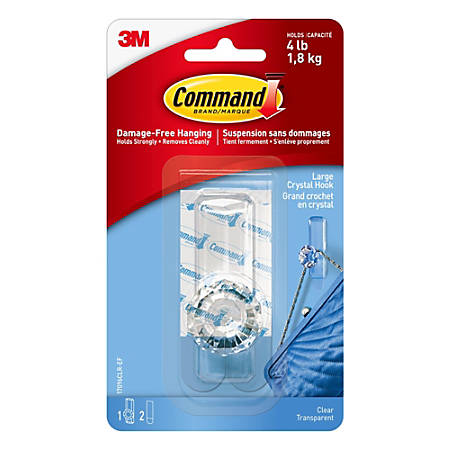"""Command™ Crystal Hook, 3 1/8""""H x 1 1/8""""W x 1 1/16""""D, Clear"""