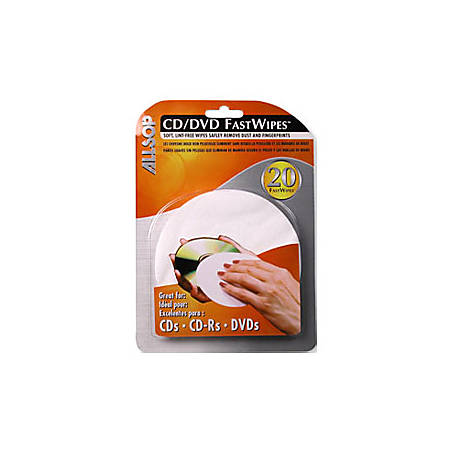 Allsop CD/DVD FastWipes, Pack Of 20