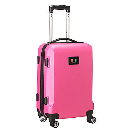 """Denco Sports Luggage NCAA ABS Plastic Rolling Domestic Carry-On Spinner, 20"""" x 13 1/2"""" x 9"""", Miami Hurricanes, Pink"""