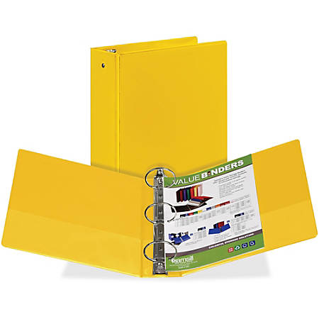 "Samsill Economy Round-Ring View Binder, 3"" Rings, Yellow"