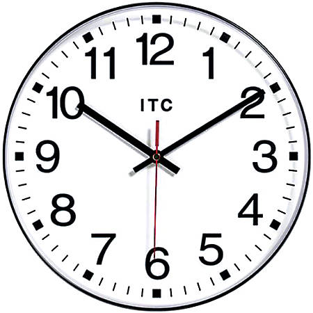 "Infinity Instruments Round Wall Clock, 12"", Black/White"