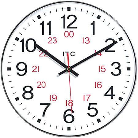 "Infinity Instruments Round Wall Clock, 12"", Black/White"