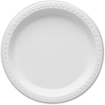 "Plastic Dinnerware, Plates, 9"" Diameter, White, 125/Pack"