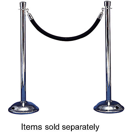 "Tatco Weighted Bell-Shaped Stanchion Bases, 12"" Diameter, Chrome, Box Of 2"
