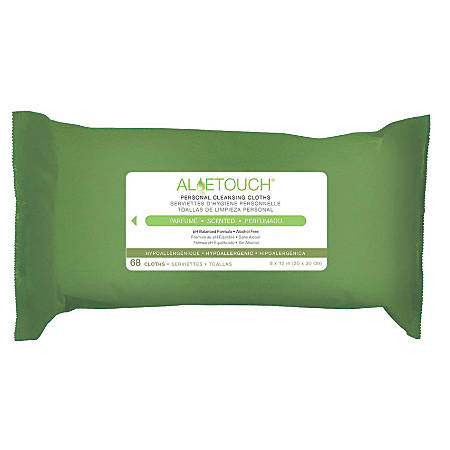 "Aloetouch® Personal Cleansing Wipes, 8"" x 12"", 68 Wipes Per Pack, Case Of 12 Packs"