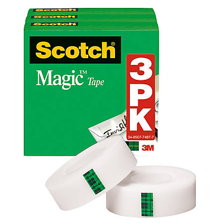 """Scotch® Magic™ Invisible Tape, 1/2"""" x 1296"""", Clear, Pack Of 3 Rolls"""