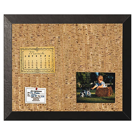 "MasterVision® Kamashi Cork Bulletin Board, 18"" x 24"", Black, Wood Frame"