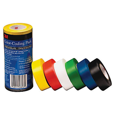 "3M Vinyl Tape 764 Color-coding Pack - 0.94"" Width x 65.61 ft Length - Rubber - 4 mil - Polyvinyl Chloride (PVC) Backing - Flexible, Removable, Residue-free - 6 / Pack - Multicolor"