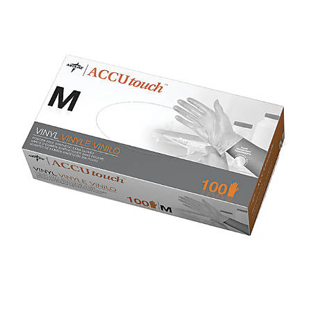 Accutouch Synthetic Disposable Powder-Free Vinyl Exam Gloves, Medium, Clear, 100 Gloves Per Box, Case Of 10 Boxes
