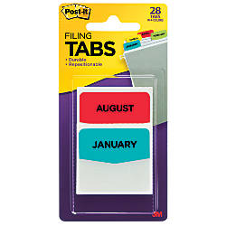 Post it Preprinted Filing Tabs 12