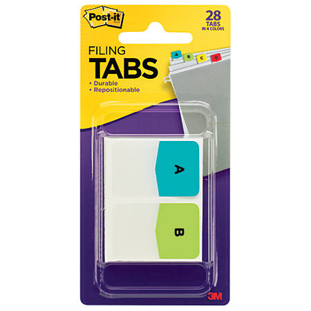 """Post-it® Preprinted Filing Tabs, Letters A-Z + 2 Blank, 1"""" x 1 1/2"""", Assorted Colors, Pad Of 28 Flags"""