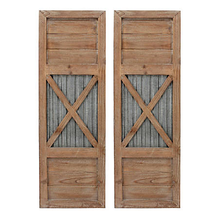 "FirsTime & Co. Raleigh Shutter Wall Plaque Set, 36""H x 12""W x 1""D, Natural/Antique Silver, Set Of 2 Plaques"