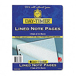 "Day-Timer® Organizer Accessory, Lined Pages, 8 1/2"" x 11"", Pack Of 2"