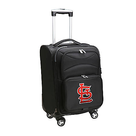 "Denco ABS Upright Rolling Carry-On Luggage, 21""H x 13""W x 9""D, St. Louis Cardinals, Black"