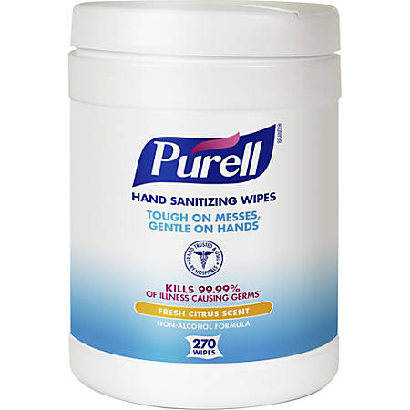 """Purell® Citrus Hand Sanitizing Wipes, 6"""" x 6-3/4"""", 270 Wipes Per Canister, Carton Of 6 Canisters"""