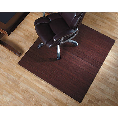 "Realspace® Bamboo Roll-Up Chair Mat, 48"" x 52"", Dark Cherry"