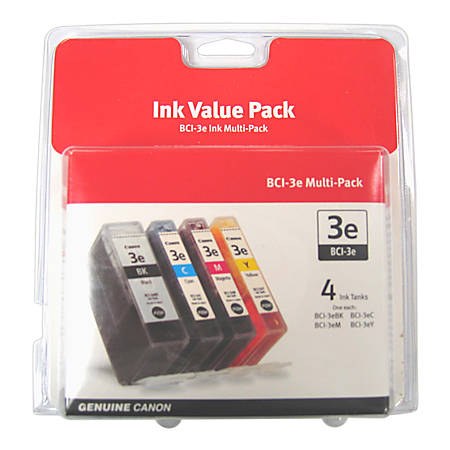 Canon BCI-3e Black/Color Ink Tanks (4479A230AA), Pack Of 4