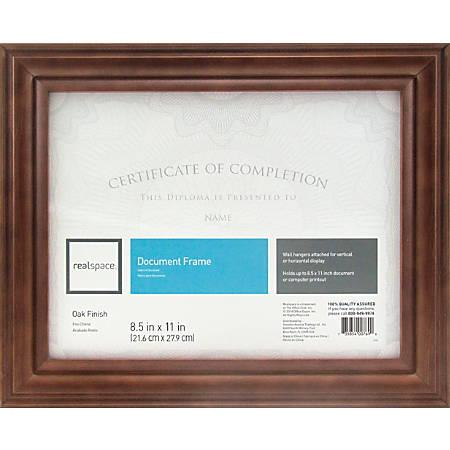 "Realspace™ Photo/Document Frame, 8-1/2"" x 11"", Oak"