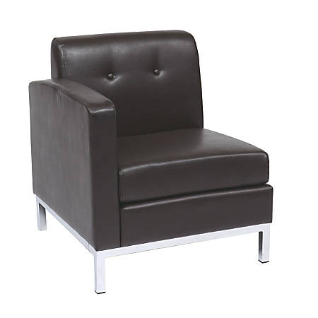 "Avenue Six Wall Street Left Arm Chair, 30""H x 27""W x 29 1/2""D, Espresso"