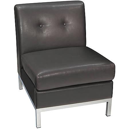 "Avenue Six Wall Street Armless Chair, 30""H x 23 1/2""W x 29 1/2""D, Espresso"