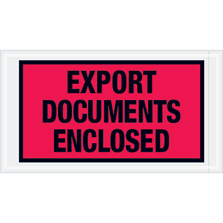 """Tape Logic® Preprinted Packing List Envelopes, Export Documents Enclosed, 5 1/2"""" x 10"""", Red, Case Of 1,000"""