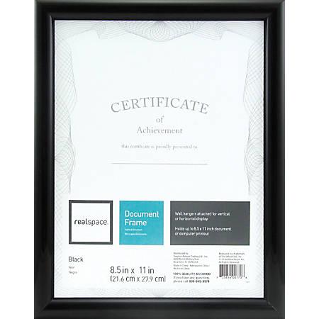 "Realspace™ Photo/Document Frame, Plastic, 8-1/2"" x 11"", Black"