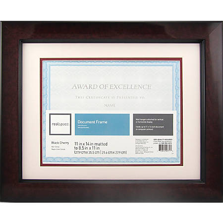 Realspace Plastic Photodocument Frame 11 X 14 Matted For 8 12 X 11