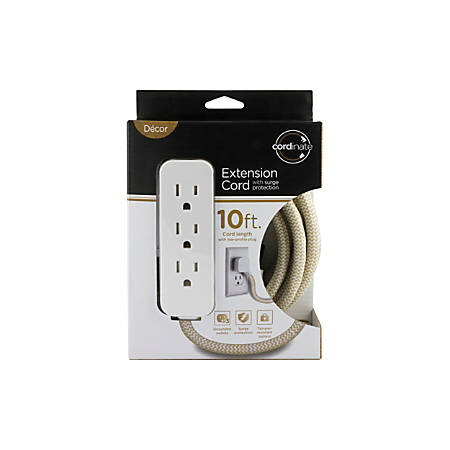 Cordinate Braided 3-Outlet Extension Cord With Surge Protection, 10' Cord, Tan/White, 37916