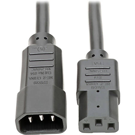"""Tripp Lite 6ft Power Cord Extension Cable C14 to C13 Heavy Duty 15A 14AWG 6' - 15A, 14AWG (IEC-320-C14 to IEC-320-C13) 6-ft."""""""