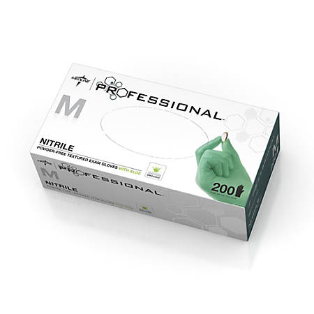 Medline Professional Disposable Powder-Free Nitrile Exam Gloves, Medium, Green, Pack Of 2,000