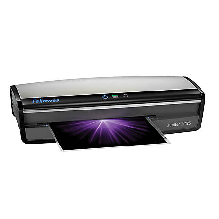 """Fellowes® Jupiter™ 2 125 12.5"""" Laminator With Pouch Starter Kit, 5.12""""H x 21.25""""W x 8.19""""D, Silver/Black"""