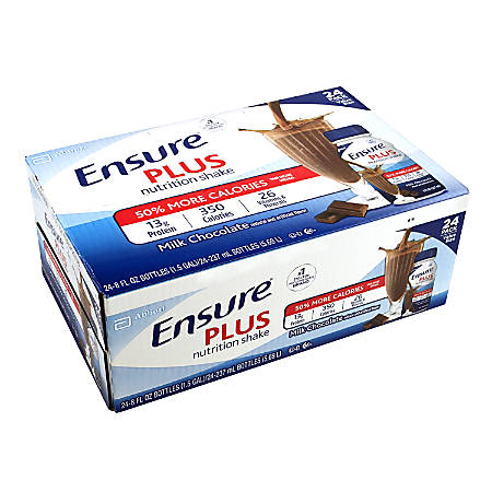 Ensure PLUS Milk Chocolate Nutrition Shake, 8 Fl Oz, Pack Of 24 Bottles