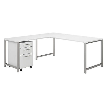 """Bush Business Furniture 400 Series 72""""W L-Shaped Desk With 48""""W Return And 3-Drawer Mobile File Cabinet, White, Premium Installation"""