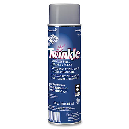 Twinkle Stainless Steel Cleaner/Polish - Ready-To-Use Aerosol - 0.13 gal (17 fl oz) - Characteristic Scent - 12 / Carton - White