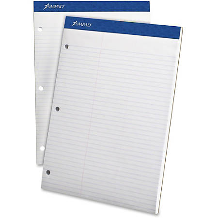 "Ampad Evidence® Dual Pad, 8 1/2"" x 11 3/4"", Law Ruled, 50 Pages (100 Sheets), White"