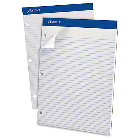 """Ampad Narrow Ruled Double Sheet Writing Pads - Letter - 100 Sheets - Stapled - Both Side Ruling Surface - 0.25"""" Ruled - 15 lb Basis Weight - 8 1/2"""" x 11""""8.5""""11.8"""" - White Paper - White Cover - Micro Perforated, Easy Tear, Stiff, Chipboard Backing - 1Each"""