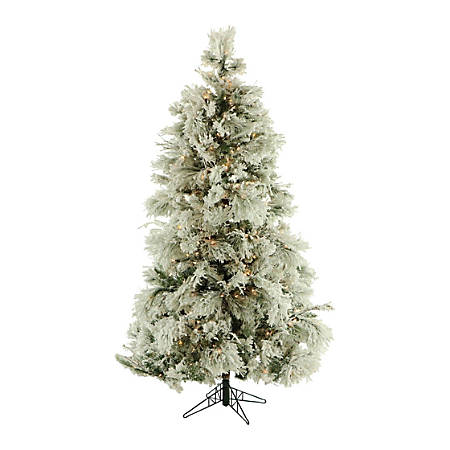 Fraser Flocked Snowy Pine Christmas Tree With LED Lighting, 7 1/2', Snow