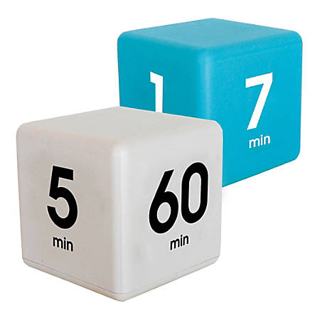 Datexx Time Cube® Preset Timers, Blue/White, Pre-K - College, Pack Of 2