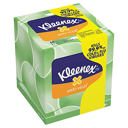 Kleenex® Anti-Viral Facial Tissue, 68 Tissue Per Box, Case Of 27 Boxes