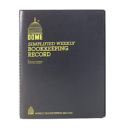 """Dome Bookkeeping Record Book - 128 Sheet(s) - Wire Bound - 8 3/4"""" x 11 1/4"""" Sheet Size - Brown Cover - Recycled - 1 Each"""