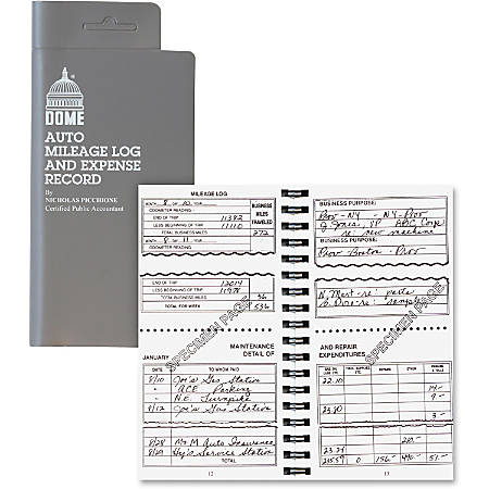 "Dome® Auto Mileage Log And Expense Record, 3 1/2"" x 6 1/2"", Gray"
