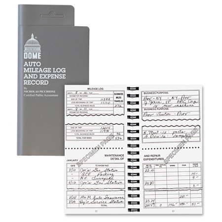 dome auto mileage log and expense record 3 12 x 6 12 gray by office