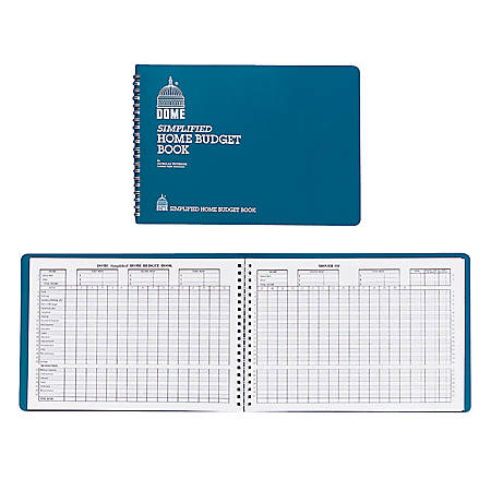 """Dome® Simplified Home Budget Book, 7 1/2"""" x 10 1/2"""", Teal"""